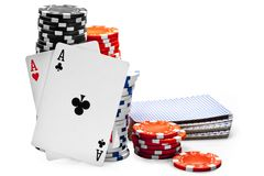 Pair of aces and poker chips Royalty Free Stock Photo