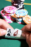Pair of aces in  poker game Royalty Free Stock Photos