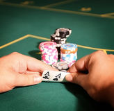 Pair of aces in  poker game Stock Photos