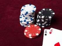 Pair of aces in a poker game. Poker chips, cards and red cloth. The concept of luck in the game Royalty Free Stock Photo