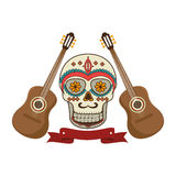 Pair acoustic guitar musical with decorative ornamental sugar skull and ribbon. Vector illustration Royalty Free Stock Photos