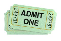 Pair of admit one tickets isolated on white background. Pair of admit one tickets isolated on white stock photo