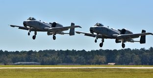 Pair of Air Force A-10 Warthogs. Moody, Georgia, USA - October 27, 2017: A two-ship of Air Force A-10 Warthogs/Thunderbolt IIs taking off at Moody AFB. These A Royalty Free Stock Photo