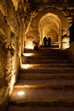 Pair in the Ajlun Castle. Two people walking up the stairs in the Ajlun Castle, Jordan stock photography