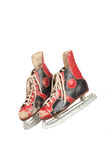 Pair of ancient ice skates, white background Royalty Free Stock Photos