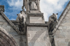Pair of anteater gargoyles on the Basilica del Voto Nacional. The detail of the photo shows the general wear of the construction Royalty Free Stock Photo