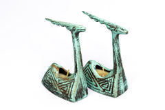 Pair of antique earthenware candle sticks royalty free stock photo