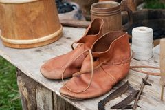 Pair of antique leather shoes Royalty Free Stock Photo