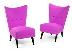 Pair antique upholstered retro chair  isolated on white Royalty Free Stock Image