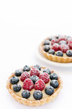 Pair of appetising fruit tarts. Yummy mix berry tarts dusted with icing sugar stock photos