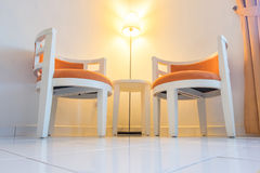 Pair of arm chair in living room for relaxing. With floor lamp Royalty Free Stock Images
