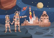 Pair of astronauts observing alien planet with space colony and launching starships on the background. Space travelling vector illustration