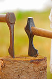 Pair of axe heads Royalty Free Stock Photo