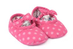 Pair of Babies first shoes. Pair of pink Babies first shoes, clothing Royalty Free Stock Photos