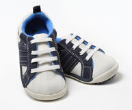 Pair of baby boy shoes Royalty Free Stock Photography