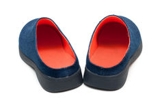 Pair baby footwear with orange insole Stock Images