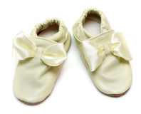 Pair baby leather slippers Stock Photo