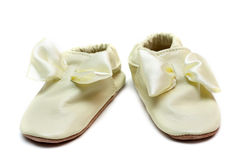 Pair Baby Leather Slippers Royalty Free Stock Photography