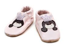 Pair baby rose leather slippers Royalty Free Stock Photography