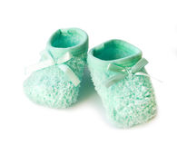 Pair of baby's bootees Royalty Free Stock Photos