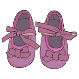 A pair of baby shoes. Fully editable vector Illustration of a pair of baby shoes Royalty Free Stock Photo