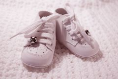 Pair Of Baby Shoes in pink royalty free stock photo