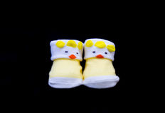 Pair of Baby sock yellow color Royalty Free Stock Photography