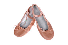 A pair of ballet shoes. A pair of leather ballet shoes isolated on isolated background stock images