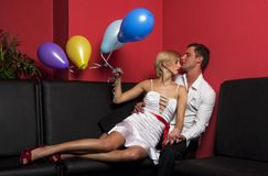Pair with balloons 1 Stock Image