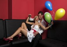 Pair with balloons 2 Royalty Free Stock Photo