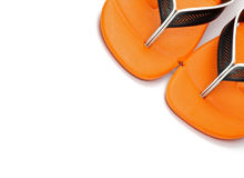 Pair of Beach Sandals. Pair of Orange Beach Sandals close up on white background Stock Image