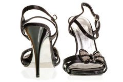 A pair of beautiful black sandals with heels Stock Photography
