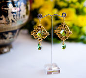 Pair of Beautiful golden Earrings with gemstones on the natural background Stock Photos