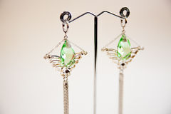 Pair of Beautiful silver Earrings with gemstones on the natural background Stock Images