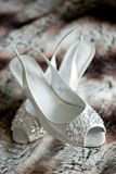 Pair of Beautiful White High Heels for a Wedding Royalty Free Stock Images