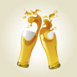 Pair of beer glasses making a toast. Royalty Free Stock Photography