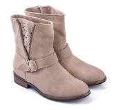 Pair of beige Fashion woman boots Stock Image