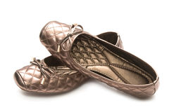 Pair of beige female shoes Stock Image
