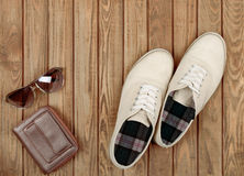 Pair of beige shoes Royalty Free Stock Image