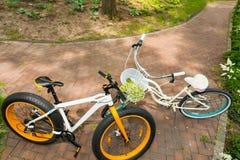 Pair of bikes on bricks Royalty Free Stock Images