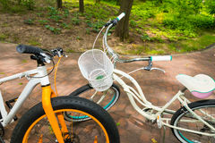 Pair of bikes on bricks in a park Royalty Free Stock Image