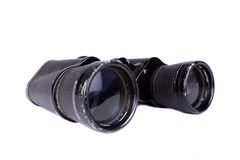 Pair of Binoculars. A pair of very old binoculars, on white studio background Royalty Free Stock Photography