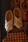 Pair of birchbark shoes Royalty Free Stock Photo