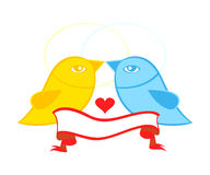 Pair of birds in love. Valentine or wedding card symbol - birds in love with banner Stock Photo