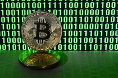 A pair of bitcoins lies on a cardboard surface on the background of a monitor depicting a binary code of bright green zeros and on. E units on a black background stock images