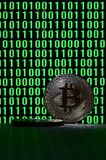 A pair of bitcoins lies on a cardboard surface on the background of a monitor depicting a binary code of bright green zeros and on. E units on a black background royalty free stock images