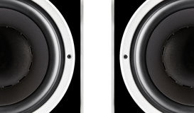 Pair of black audio speakers membrane. Closeup isolated on white background royalty free stock photography