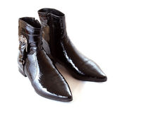 Pair of black boots Stock Photos