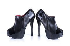 Pair of black classic female shoes Royalty Free Stock Photos