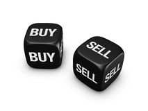 Pair of black dice with buy, sell sign Stock Photos
